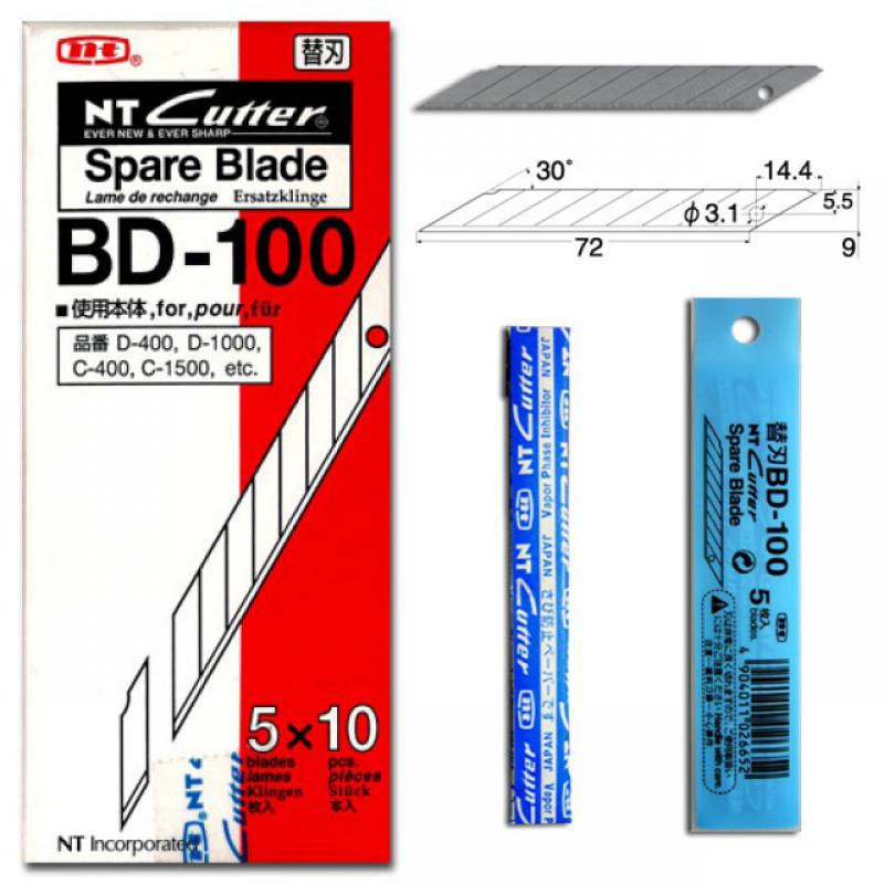 NT Cutter Spare Blade - BD-100 (1box=50pcs)