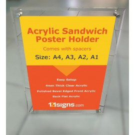 Acrylic Sandwich Poster Holder - A4