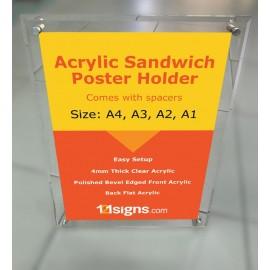 Acrylic Sandwich Poster Holder - A4